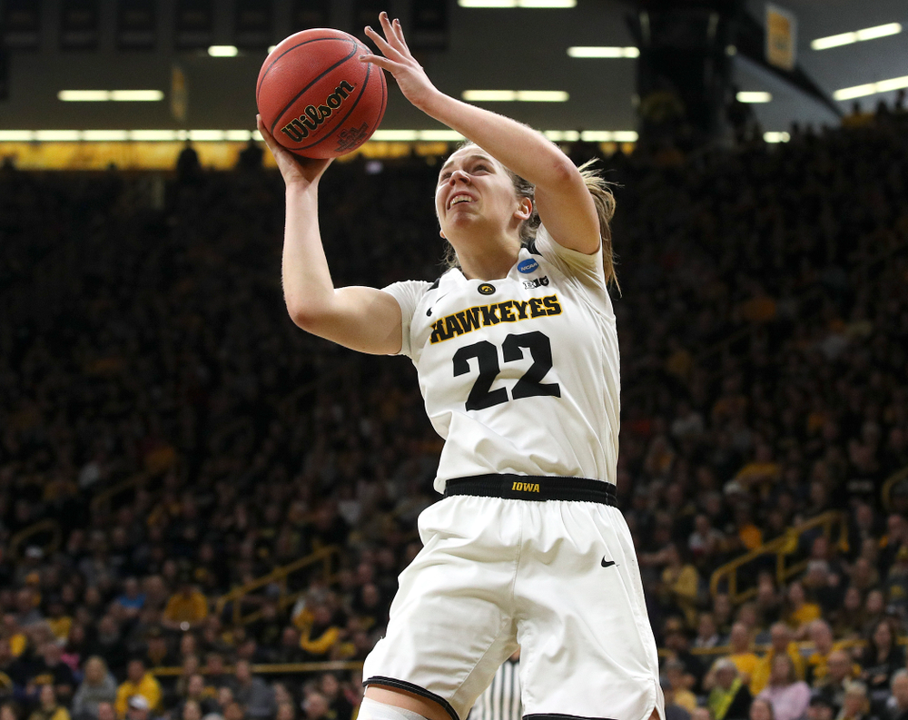 Iowa Hawkeyes guard Kathleen Doyle (22) makes a basket during the second quarter of their second round game in the 2019 NCAA Women's Basketball Tournament at Carver Hawkeye Arena in Iowa City on Sunday, Mar. 24, 2019. (Stephen Mally for hawkeyesports.com)