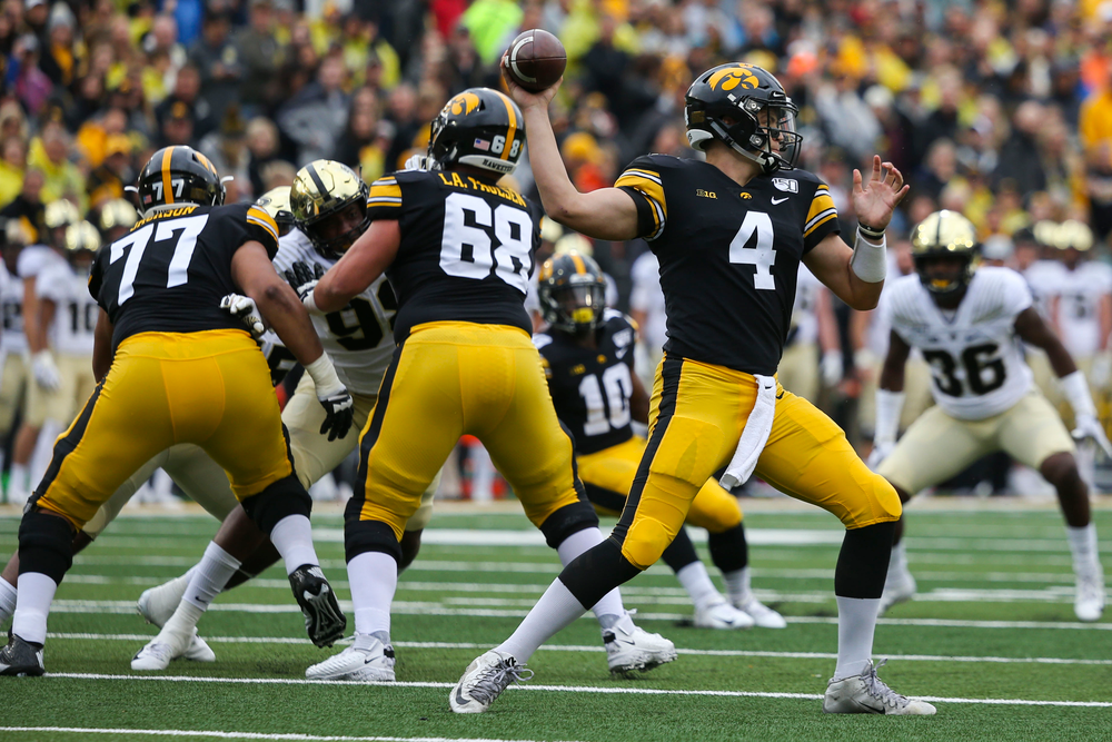 Iowa Hawkeyes quarterback Nate Stanley (4) during Iowa football vs Purdue on Saturday, October 19, 2019 at Kinnick Stadium. (Lily Smith/hawkeyesports.com)