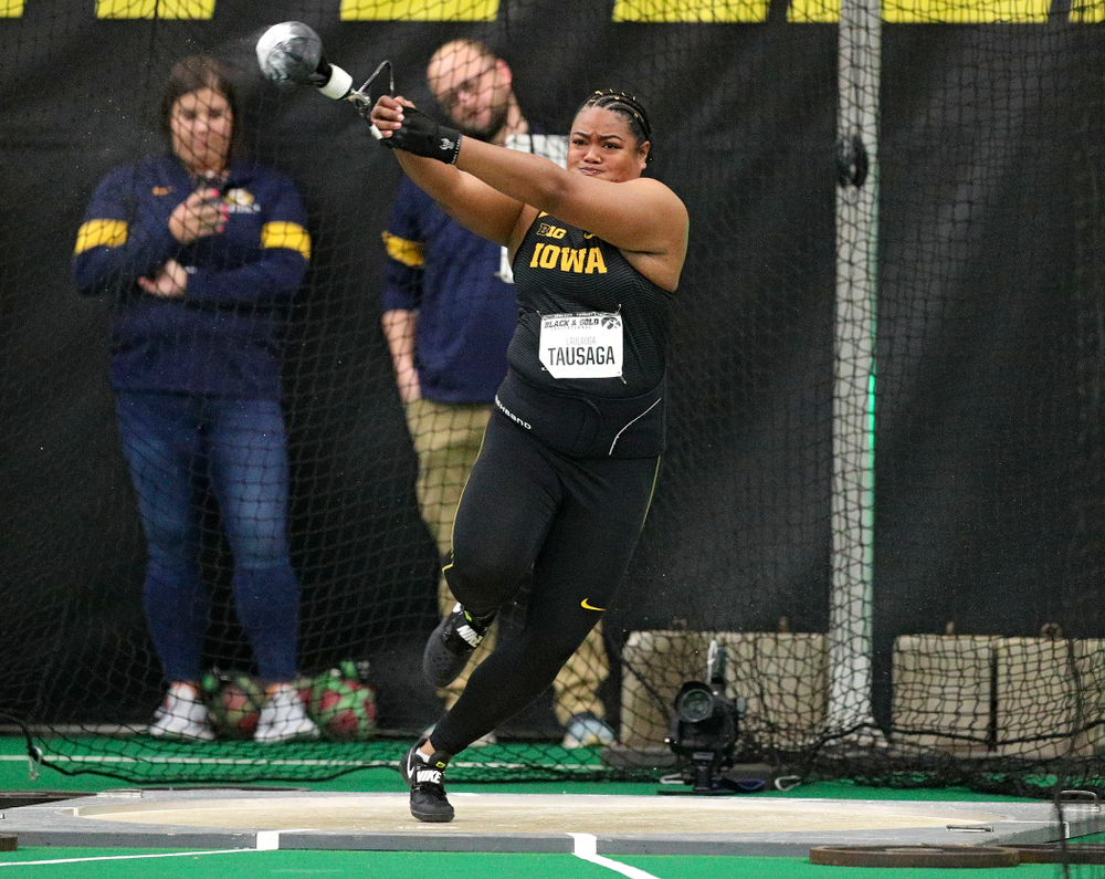 Iowa's Laulauga Tausaga throws during the women's weight throw event at the Hawkeye Tennis and Recreation Complex in Iowa City on Friday, January 31, 2020. (Stephen Mally/hawkeyesports.com)