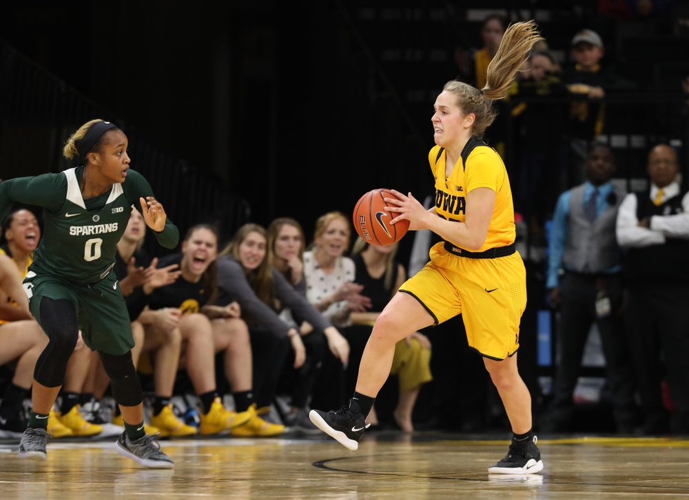 Iowa Hawkeyes guard Kathleen Doyle (22) against the Michigan State Spartans Thursday, February 7, 2019 at Carver-Hawkeye Arena. (Brian Ray/hawkeyesports.com)