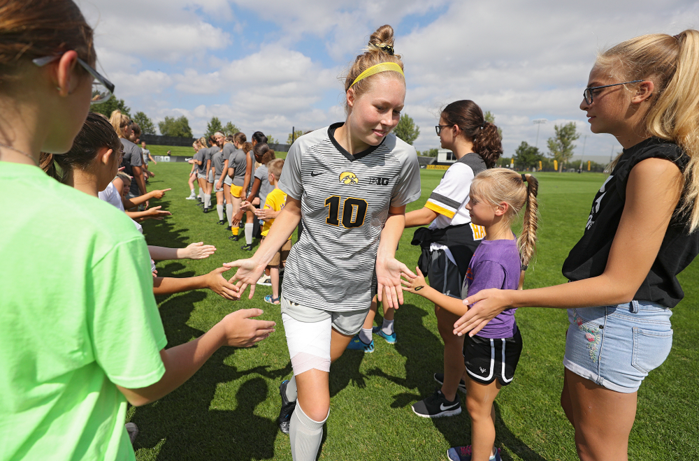Iowa midfielder/defender Natalie Winters (10) takes the field for their match at the Iowa Soccer Complex in Iowa City on Sunday, Sep 1, 2019. (Stephen Mally/hawkeyesports.com)