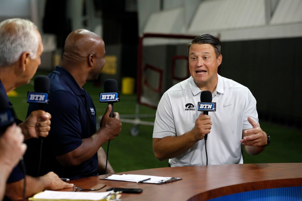 Iowa Hawkeyes offensive coordinator Brian Ferentz on the Big Ten Network set Monday, August 20, 2018 at the Hansen Football Performance Center. (Brian Ray/hawkeyesports.com)