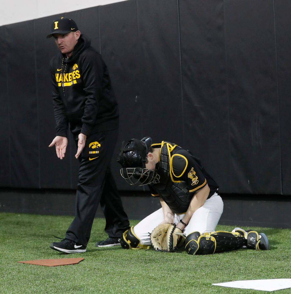 Marty Sutherland at first baseball practice on Jan. 25, 2019. (Darren Miller/hawkeyesports.com)
