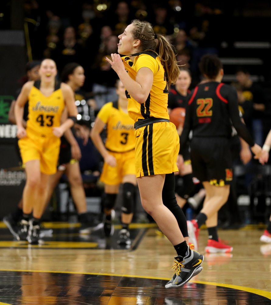 Iowa Hawkeyes guard Kathleen Doyle (22) celebrates following their victory against the Maryland Terrapins Thursday, January 9, 2020 at Carver-Hawkeye Arena. (Brian Ray/hawkeyesports.com)