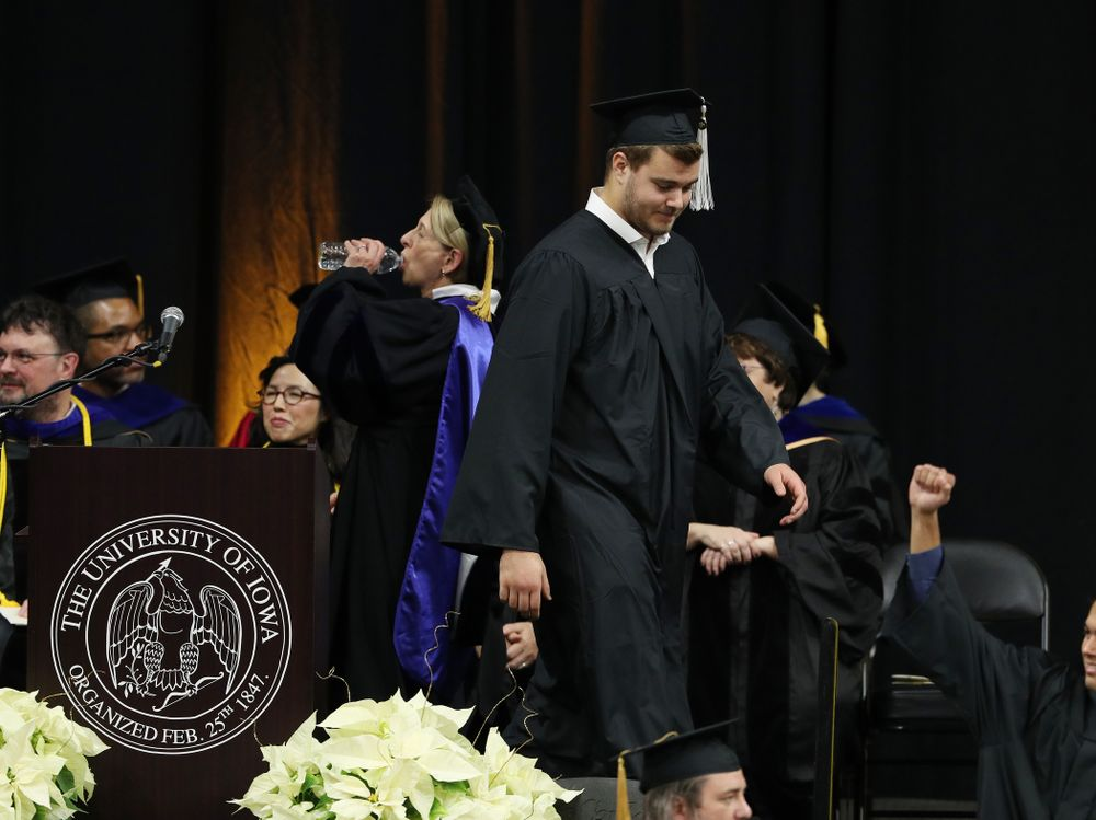 Iowa Football's Sam Brincks during the Fall Commencement Ceremony  Saturday, December 15, 2018 at Carver-Hawkeye Arena. (Brian Ray/hawkeyesports.com)