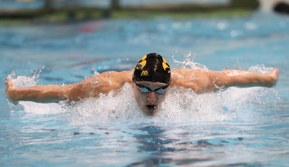 Iowa's Joe Myhre competes in the 100-yard butterfly during the third day of the Hawkeye Invitational at the Campus Recreation and Wellness Center on November 16, 2018. (Tork Mason/hawkeyesports.com)