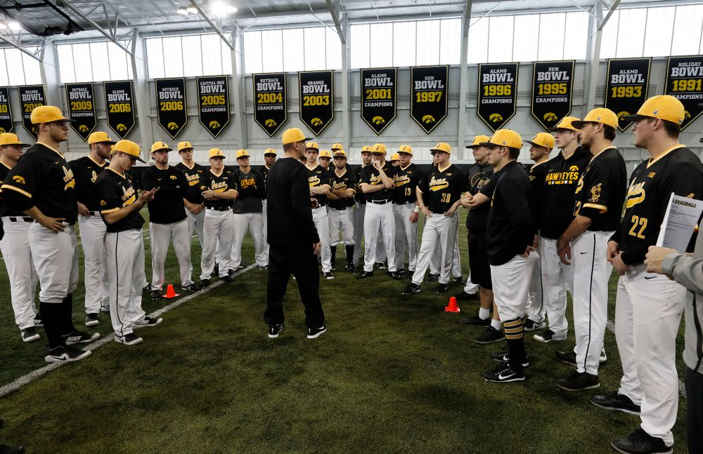 Iowa Hawkeyes head coach Rick Heller during the team's annual media day Thursday, February 8, 2018 in the indoor practice facility. (Brian Ray/hawkeyesports.com)