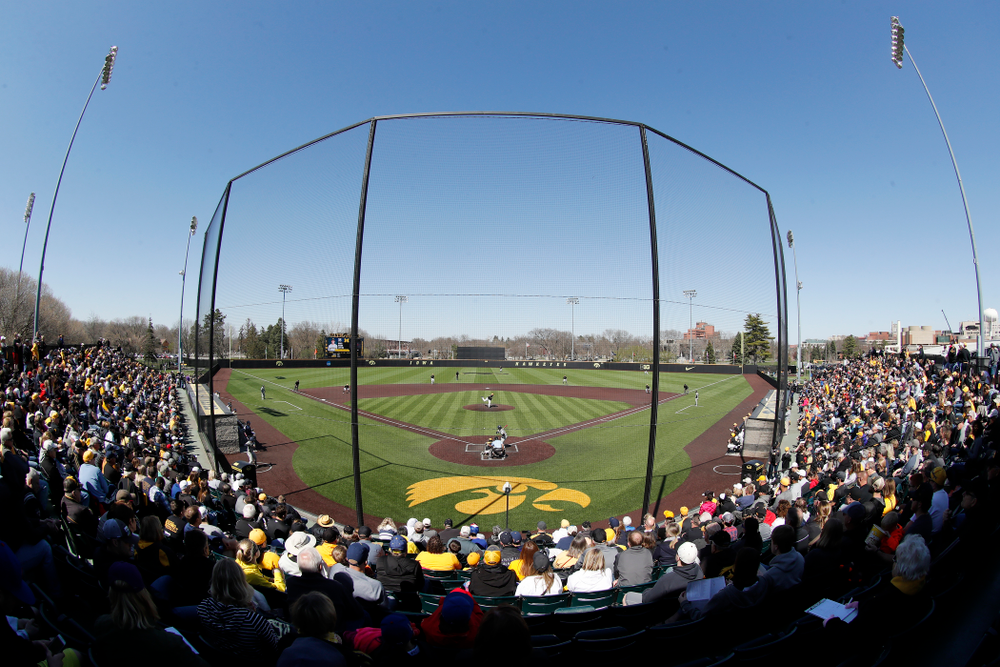 Fans watch as the Iowa Hawkeyes face off against Michigan in front of a standing room only crowd Saturday, April 28, 2018 at Duane Banks Field (Brian Ray/hawkeyesports.com)