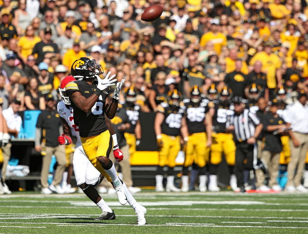 Iowa Hawkeyes wide receiver Ihmir Smith-Marsette (6) pulls in a 58-yard touchdown reception during the first quarter of their Big Ten Conference football game at Kinnick Stadium in Iowa City on Saturday, Sep 7, 2019. (Stephen Mally/hawkeyesports.com)