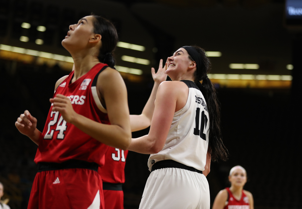 Iowa Hawkeyes forward Megan Gustafson (10) reacts after making a basket and draws a foul against the Nebraska Cornhuskers Thursday, January 3, 2019 at Carver-Hawkeye Arena. (Brian Ray/hawkeyesports.com)