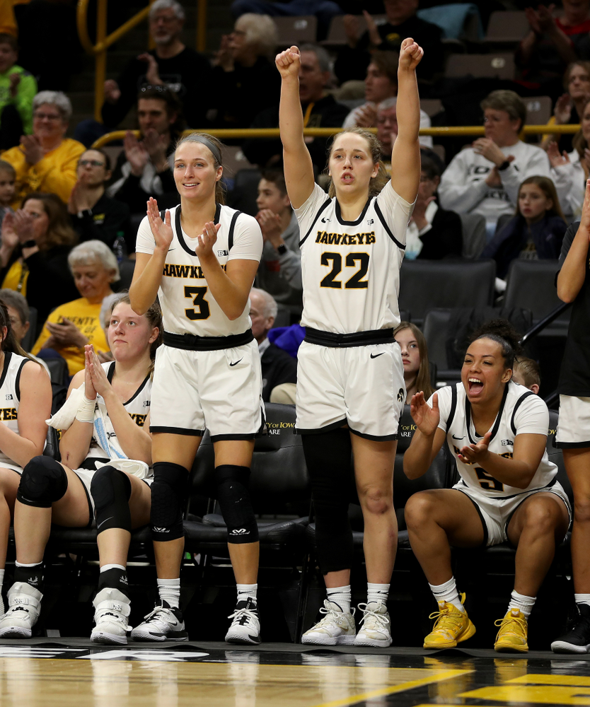 Iowa Hawkeyes guard Makenzie Meyer (3) and guard Kathleen Doyle (22) against Penn State Saturday, February 22, 2020 at Carver-Hawkeye Arena. (Brian Ray/hawkeyesports.com)