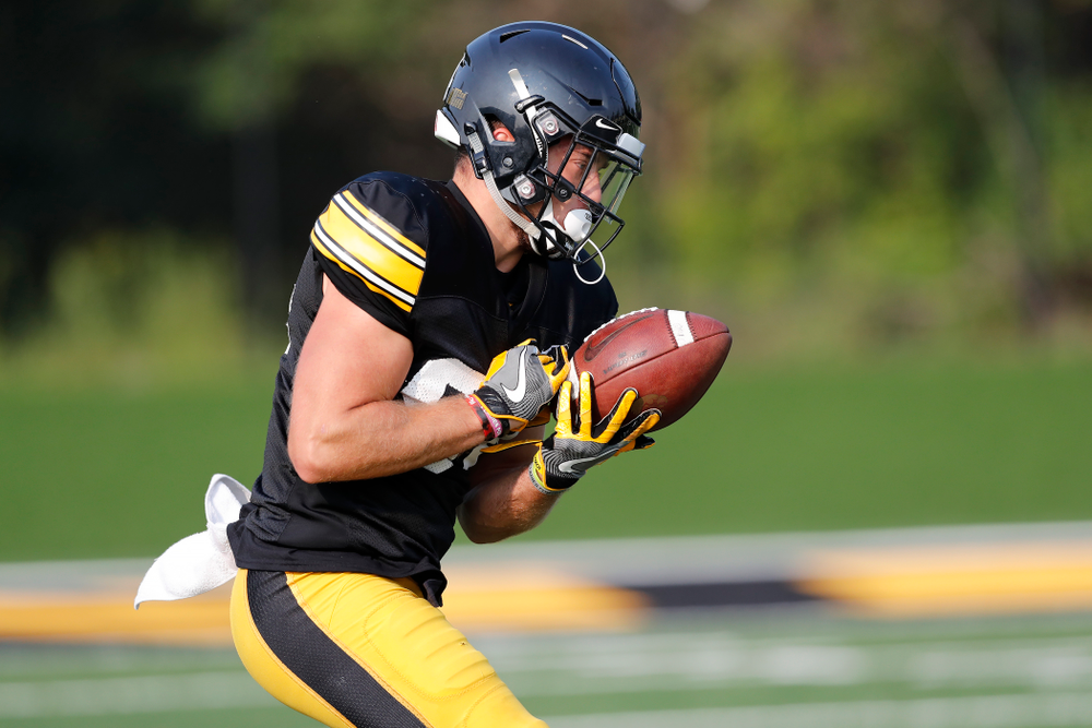 Iowa Hawkeyes wide receiver Nick Easley (84) during camp practice No. 16 Tuesday, August 21, 2018 at the Hansen Football Performance Center. (Brian Ray/hawkeyesports.com)