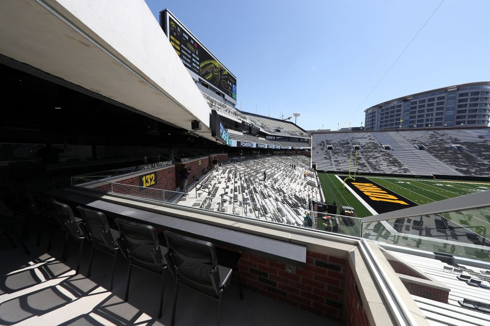 The view from a Loge Box in the new north end zone of Kinnick Stadium Friday, August 9, 2019. (Brian Ray/hawkeyesports.com)