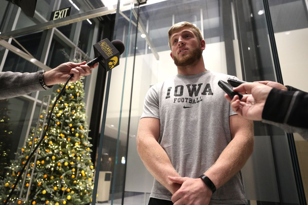 Iowa Hawkeyes defensive back Jake Gervase (30) addresses the media about the Hawkeyes selection to face Mississippi State in the Outback Bowl Sunday, December 2, 2018 at the Hansen Football Performance Center. (Brian Ray/hawkeyesports.com)