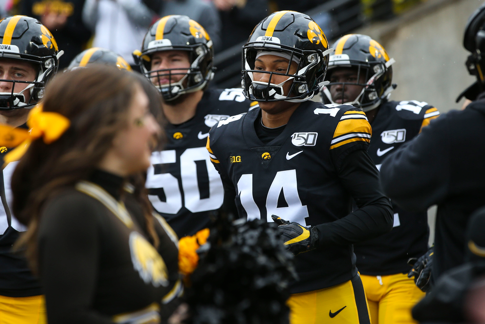 Iowa Hawkeyes defensive back Daraun McKinney (14) during Iowa football vs Purdue on Saturday, October 19, 2019 at Kinnick Stadium. (Lily Smith/hawkeyesports.com)