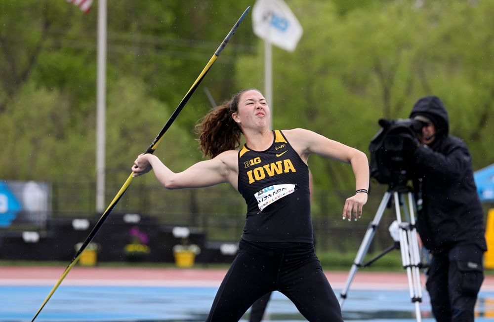 Iowa's Jenny Kimbro throws in the women's javelin in the heptathlon event on the second day of the Big Ten Outdoor Track and Field Championships at Francis X. Cretzmeyer Track in Iowa City on Saturday, May. 11, 2019. (Stephen Mally/hawkeyesports.com)
