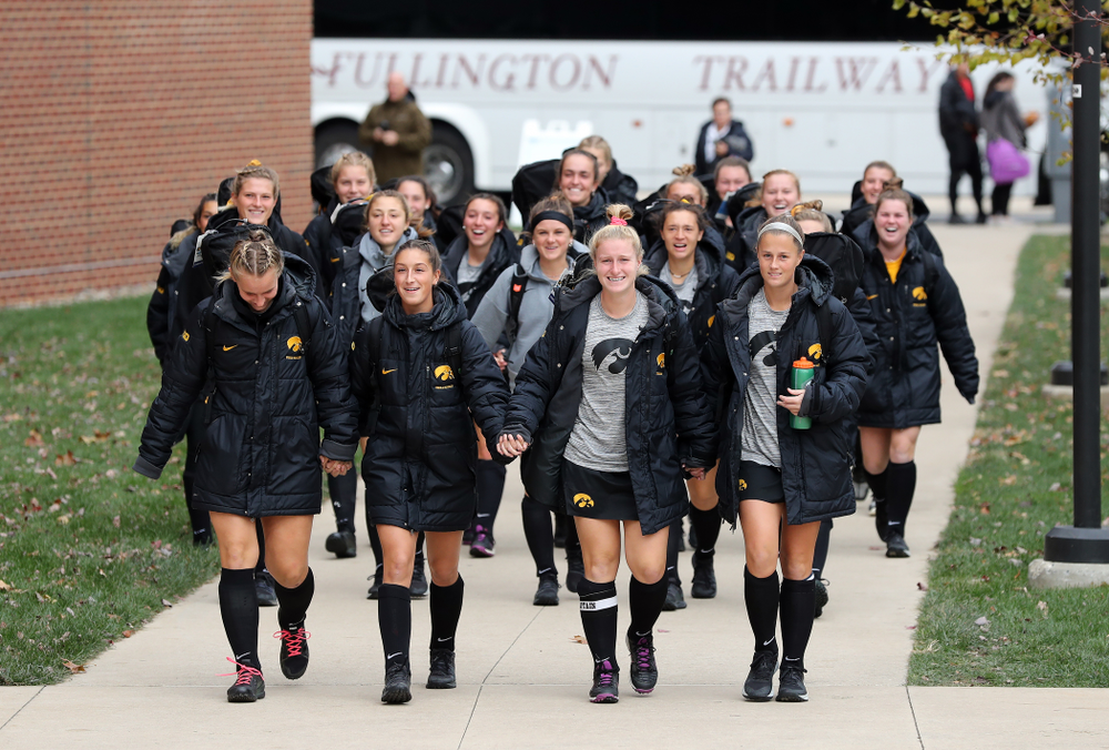 The Iowa Hawkeyes arrive for their game against Penn State in the 2019 Big Ten Field Hockey Tournament Championship Game Sunday, November 10, 2019 in State College. (Brian Ray/hawkeyesports.com)