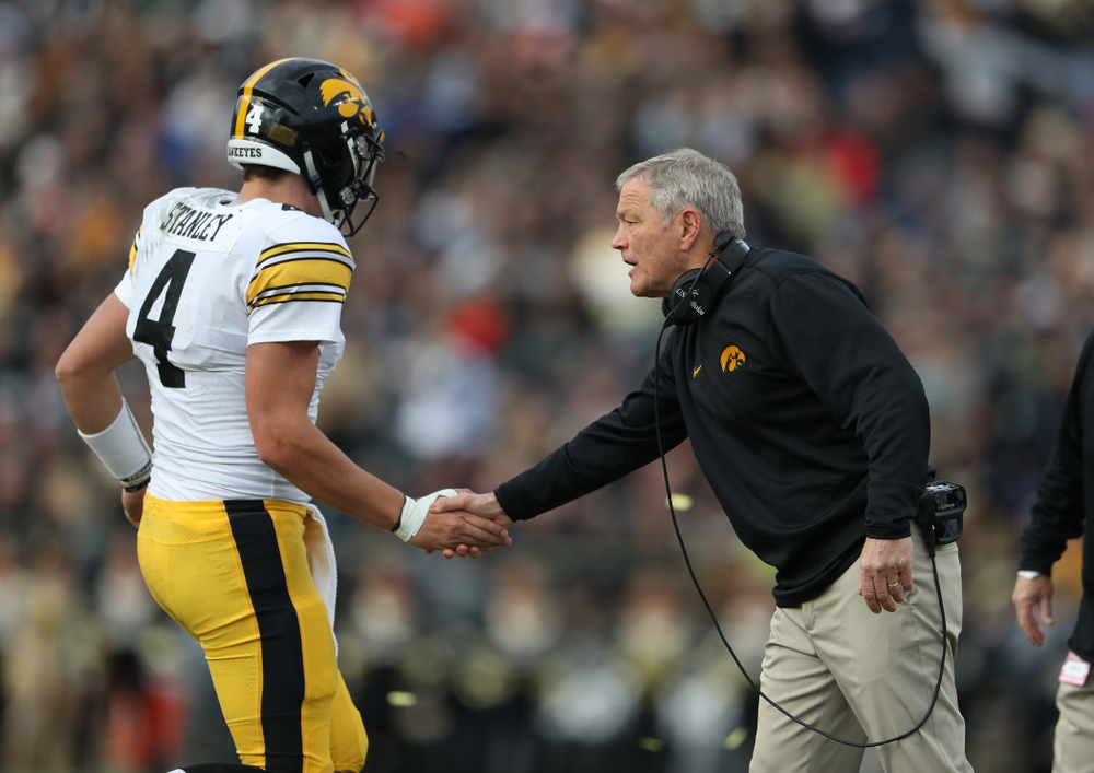 Iowa Hawkeyes head coach Kirk Ferentz and quarterback Nate Stanley (4) against the Purdue Boilermakers Saturday, November 3, 2018 Ross Ade Stadium in West Lafayette, Ind. (Brian Ray/hawkeyesports.com)
