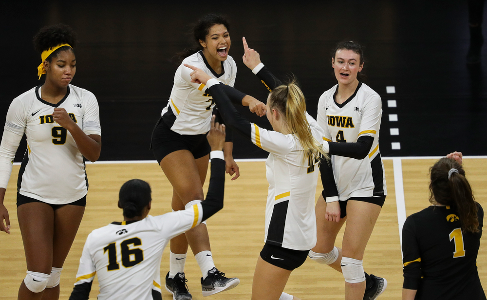 Iowa Hawkeyes setter Brie Orr (7) celebrates after winning a point during a match against Rutgers at Carver-Hawkeye Arena on November 2, 2018. (Tork Mason/hawkeyesports.com)