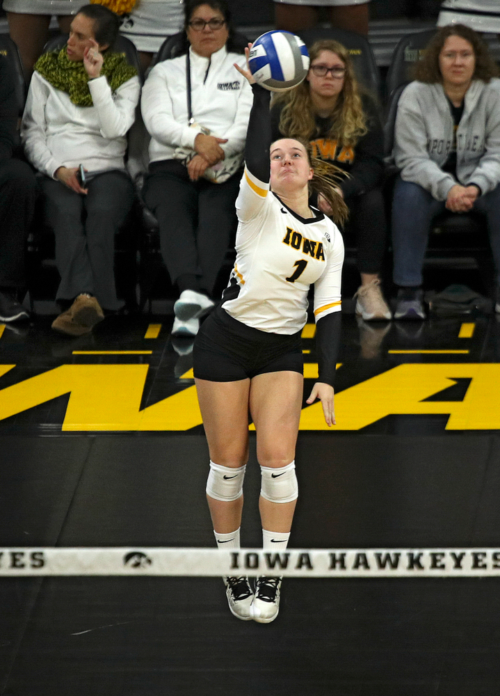 Iowa's Joslyn Boyer (1) with an ace serve during the second set of their match against Nebraska at Carver-Hawkeye Arena in Iowa City on Saturday, Nov 9, 2019. (Stephen Mally/hawkeyesports.com)