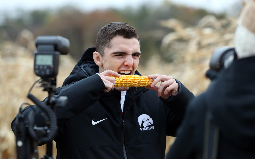 Wrestler Paul Glynn poses for a photo during the teamÕs annual media day Wednesday, October 30, 2019 at Kroul Family Farms in Mount Vernon. (Brian Ray/hawkeyesports.com)