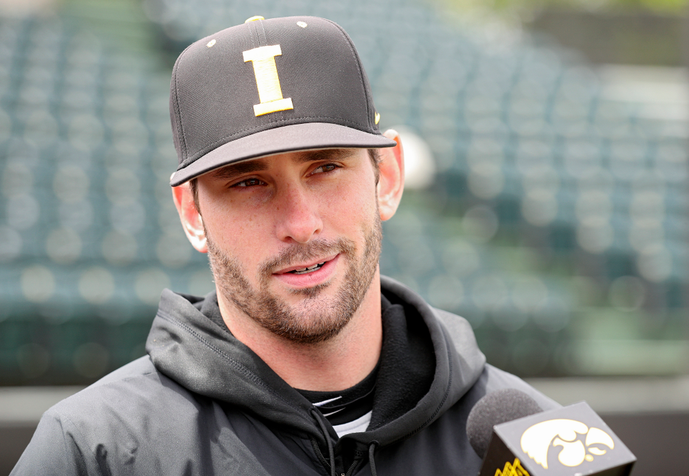 Iowa's Chris Whelan answers questions from the media at Duane Banks Field in Iowa City on Monday, May 20, 2019. (Stephen Mally/hawkeyesports.com)