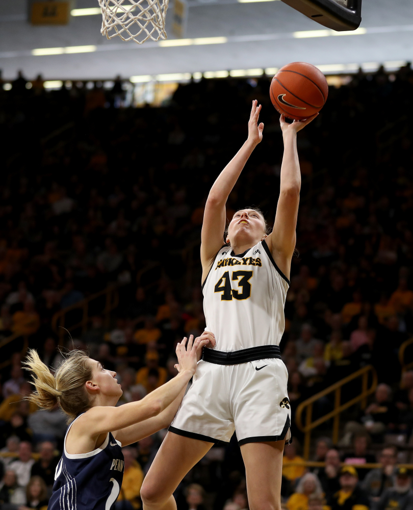 Iowa Hawkeyes forward Amanda Ollinger (43) against Penn State Saturday, February 22, 2020 at Carver-Hawkeye Arena. (Brian Ray/hawkeyesports.com)