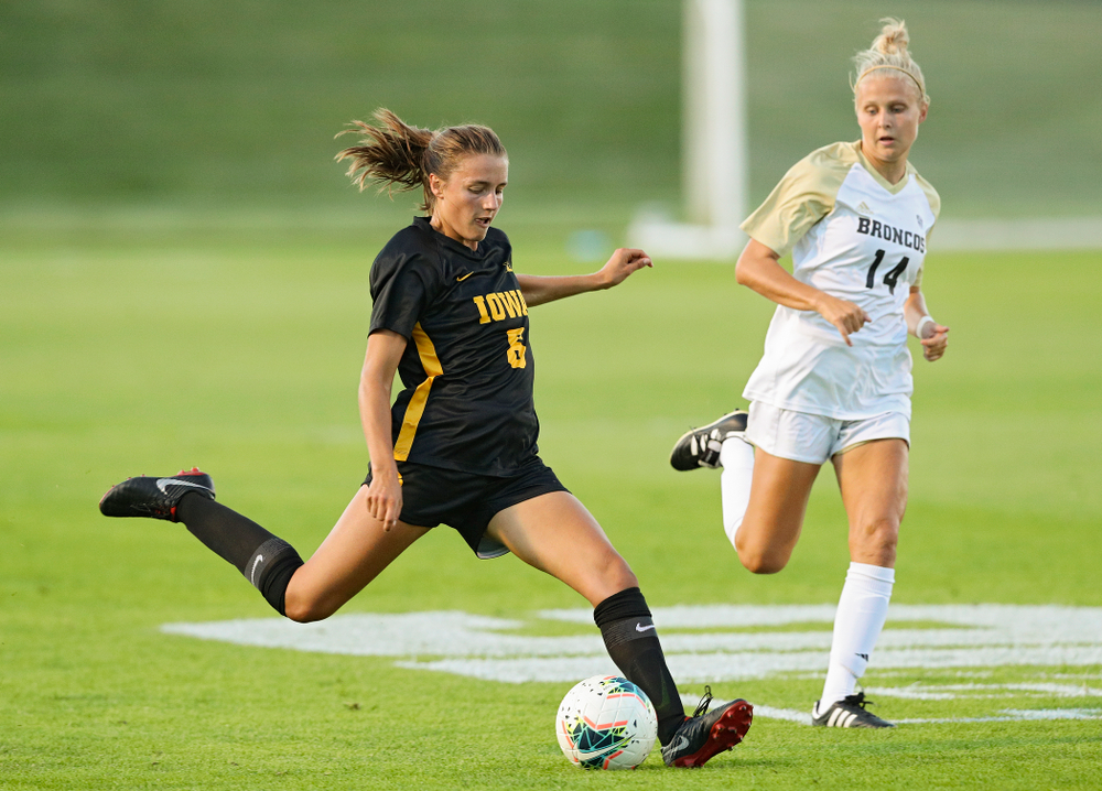Iowa midfielder Isabella Blackman (6) lines up a shot during the first half of their match against Western Michigan at the Iowa Soccer Complex in Iowa City on Thursday, Aug 22, 2019. (Stephen Mally/hawkeyesports.com)