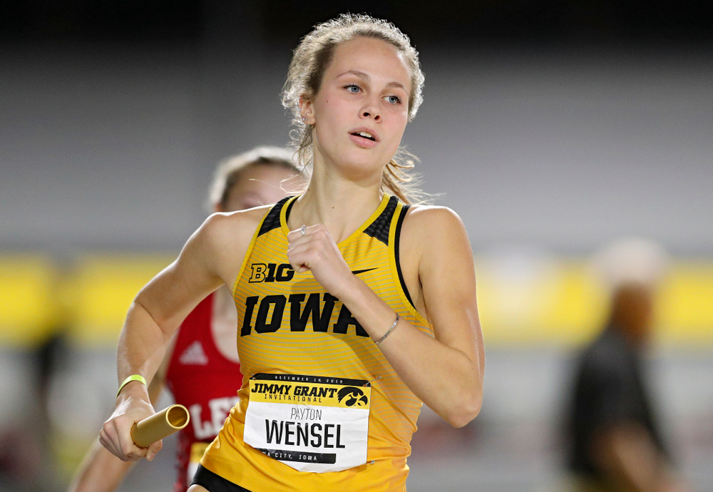 Iowa's Payton Wensel runs the women's 1600 meter relay event during the Jimmy Grant Invitational at the Recreation Building in Iowa City on Saturday, December 14, 2019. (Stephen Mally/hawkeyesports.com)