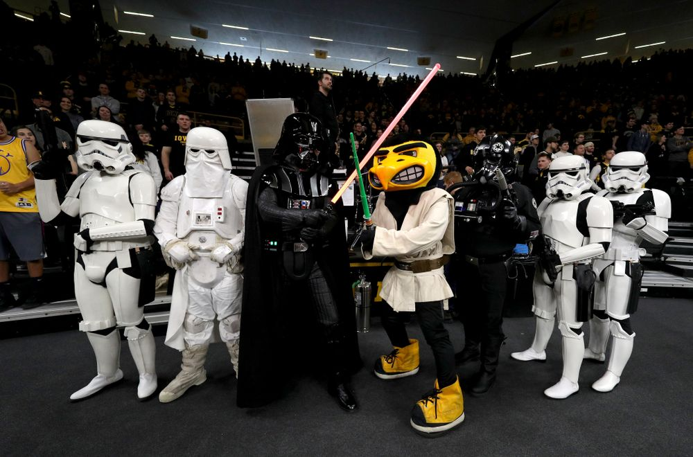 Jedi Herky and Darth Vader against the Ohio State Buckeyes Saturday, January 12, 2019 at Carver-Hawkeye Arena. (Brian Ray/hawkeyesports.com)