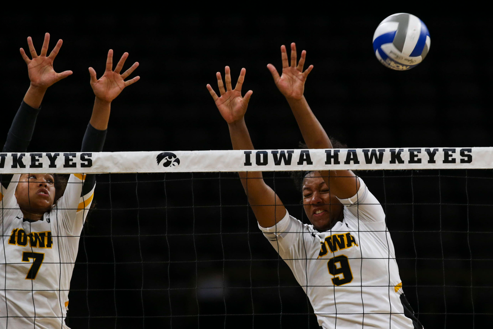 Iowa Hawkeyes setter Brie Orr (7) and Iowa Hawkeyes middle blocker Amiya Jones (9) against Coastal Carolina Friday, September 20, 2019 at Carver-Hawkeye Arena. (Lily Smith/hawkeyesports.com)