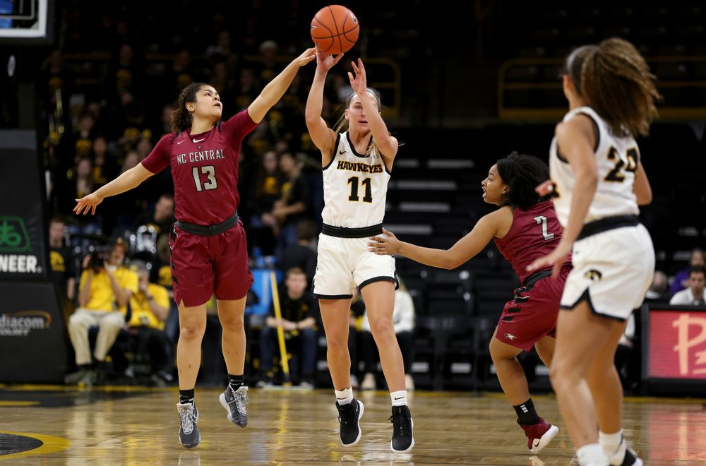 Iowa Hawkeyes guard Megan Meyer (11) against North Carolina Central Saturday, December 14, 2019 at Carver-Hawkeye Arena. (Brian Ray/hawkeyesports.com)