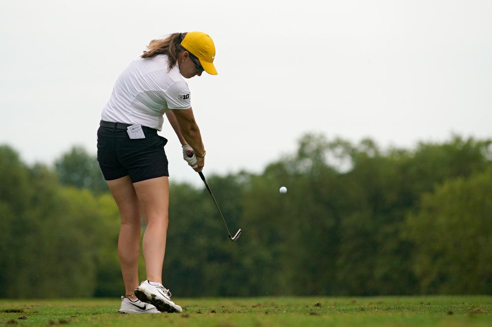 Iowa's Sarah Overton tees off during their dual against Northern Iowa at Pheasant Ridge Golf Course in Cedar Falls on Monday, Sep 2, 2019. (Stephen Mally/hawkeyesports.com)