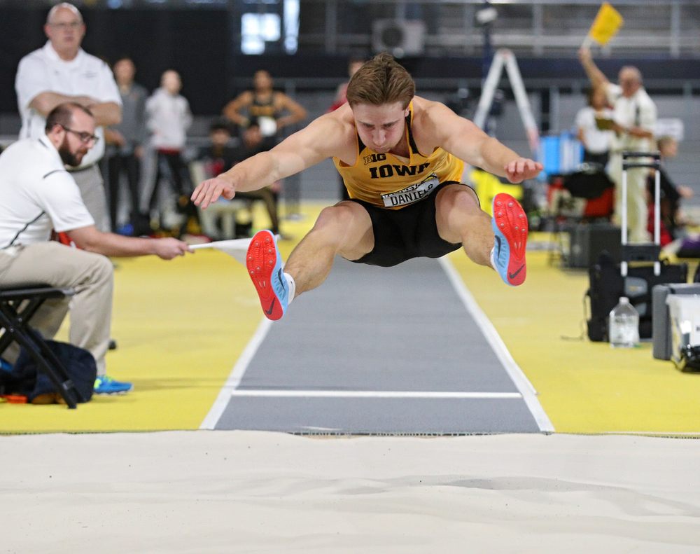 Iowa's Will Daniels competes in the men's long jump event during the Hawkeye Invitational at the Recreation Building in Iowa City on Saturday, January 11, 2020. (Stephen Mally/hawkeyesports.com)