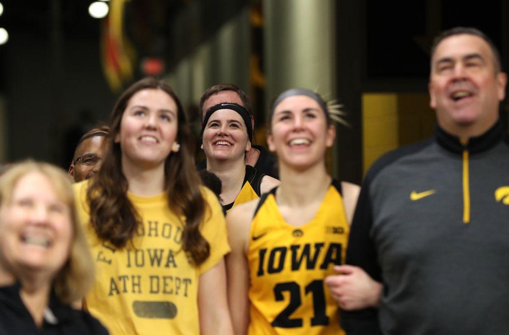 Iowa Hawkeyes forward Megan Gustafson (10) during senior day ceremonies following their game against the Northwestern Wildcats Sunday, March 3, 2019 at Carver-Hawkeye Arena. (Brian Ray/hawkeyesports.com)