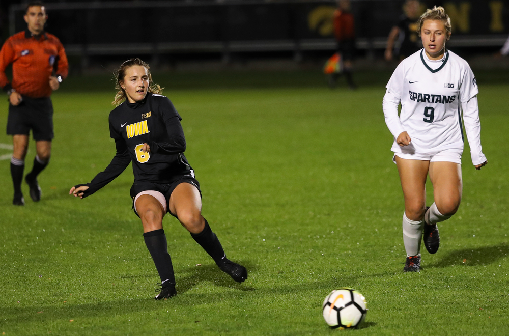 Iowa Hawkeyes midfielder Isabella Blackman (6) passes the ball during a game against Michigan State at the Iowa Soccer Complex on October 12, 2018. (Tork Mason/hawkeyesports.com)