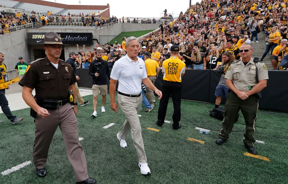Iowa Hawkeyes head coach Kirk Ferentz  before their game against the Iowa State Cyclones Saturday, September 8, 2018 at Kinnick Stadium. (Brian Ray/hawkeyesports.com)