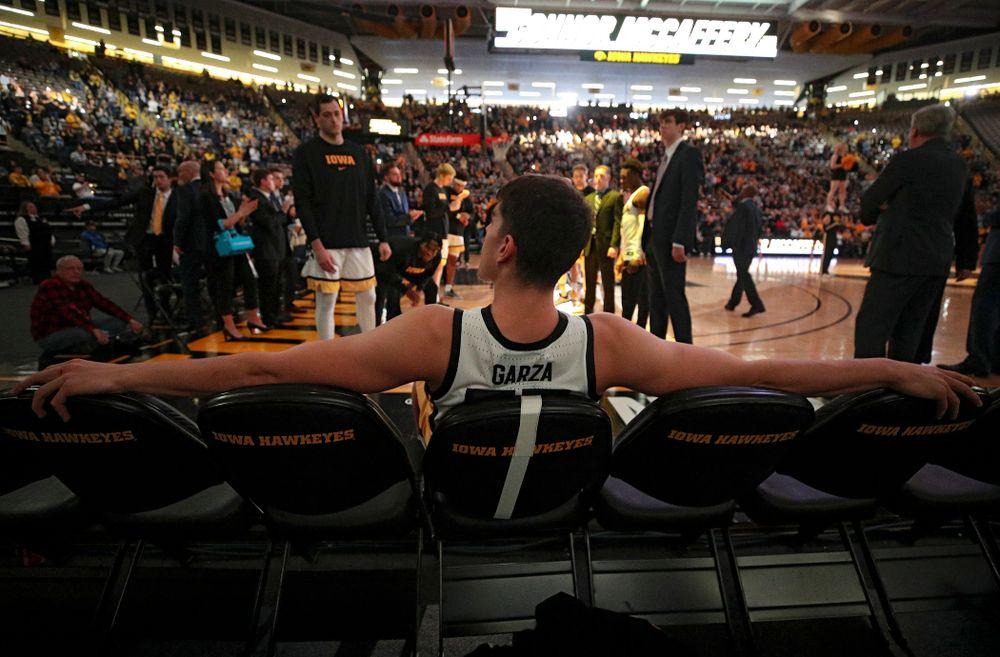 Iowa Hawkeyes center Luka Garza (55) waits to be introduced before their game at Carver-Hawkeye Arena in Iowa City on Sunday, Nov 24, 2019. (Stephen Mally/hawkeyesports.com)
