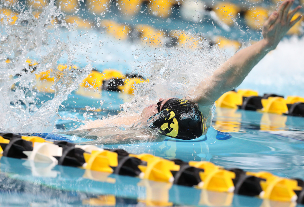 Iowa's Kenneth Mende swims the backstroke leg of the 200 medley relay at the 2019 Big Ten Swimming and Diving meet  Wednesday, February 27, 2019 at the Campus Wellness and Recreation Center. (Brian Ray/hawkeyesports.com)