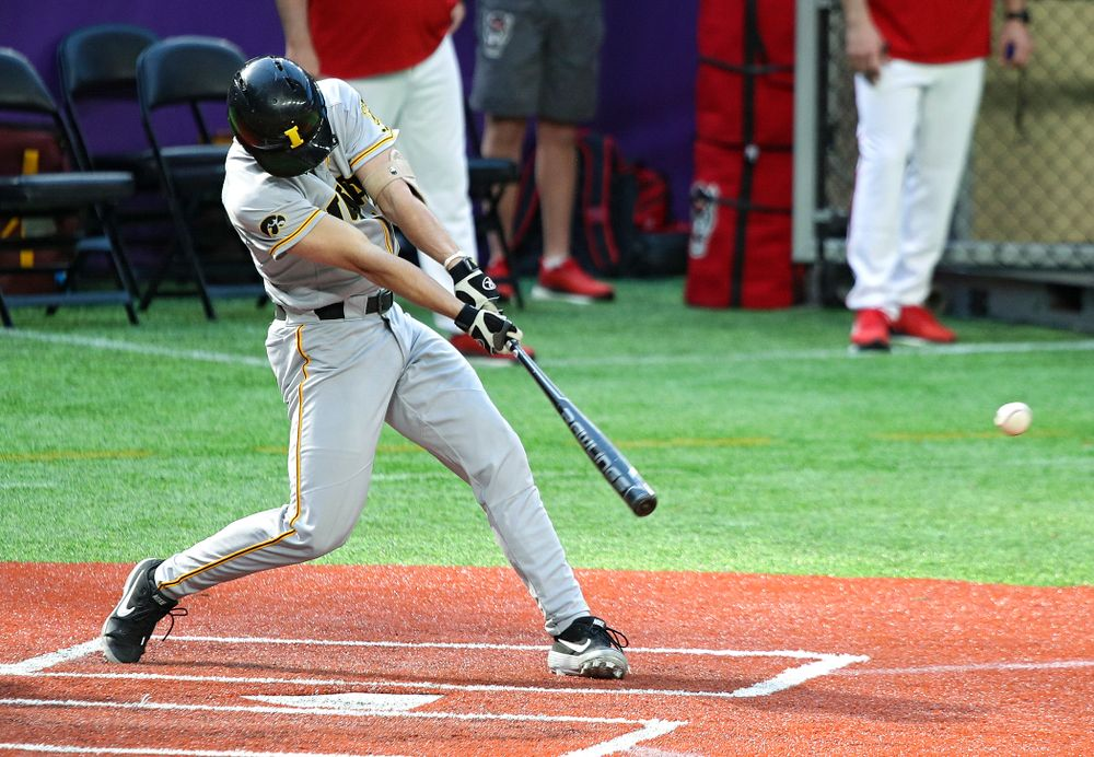 Iowa Hawkeyes infielder Dylan Nedved (17) gets a hit during the seventh inning of their CambriaCollegeClassic game at U.S. Bank Stadium in Minneapolis, Minn. on Friday, February 28, 2020. (Stephen Mally/hawkeyesports.com)