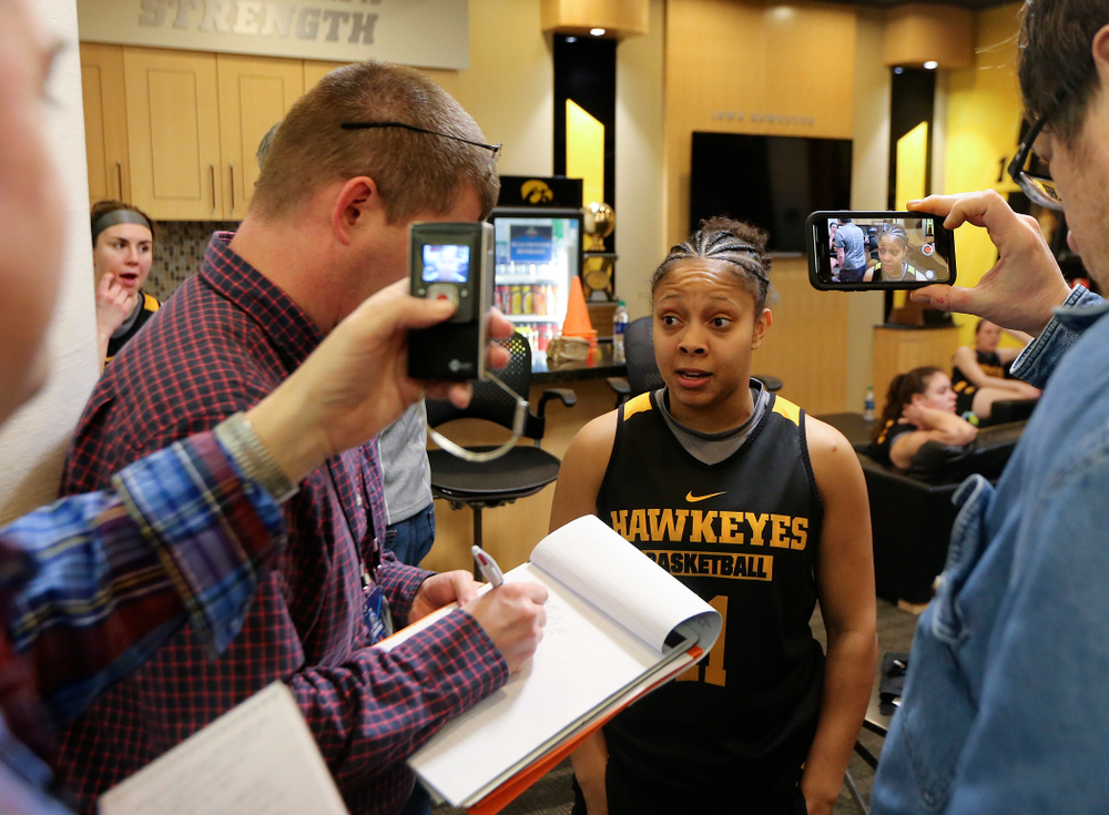 Iowa Hawkeyes guard Tania Davis (11) answers a question during media availability before their next game in the 2019 NCAA Women's Basketball Tournament at Carver Hawkeye Arena in Iowa City on Saturday, Mar. 23, 2019. (Stephen Mally for hawkeyesports.com)