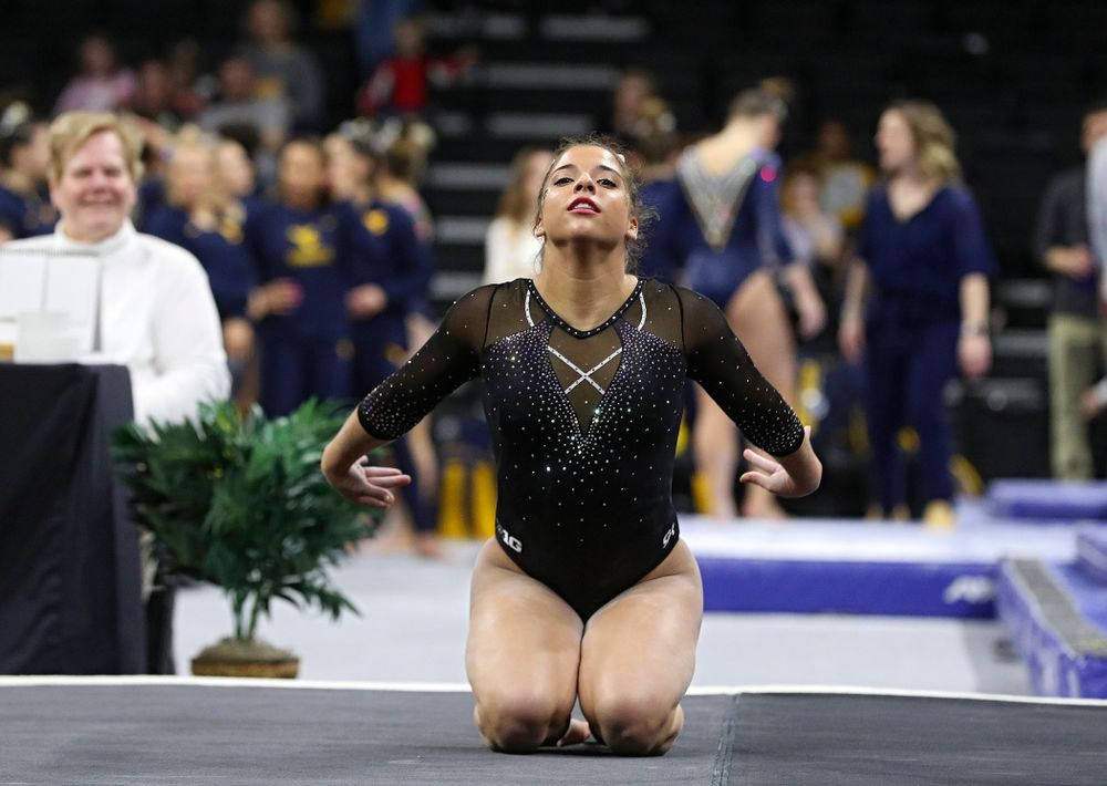Iowa's Ariana Agrapides competes on the floor during their meet at Carver-Hawkeye Arena in Iowa City on Sunday, March 8, 2020. (Stephen Mally/hawkeyesports.com)