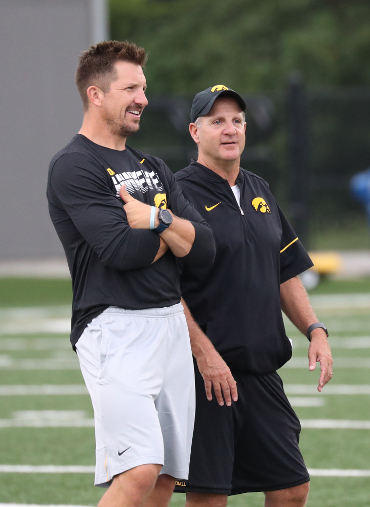 Iowa Hawkeyes defensive coordinator Phil Parker with Former Hawkeye All-American Tight End, Dallas Clark