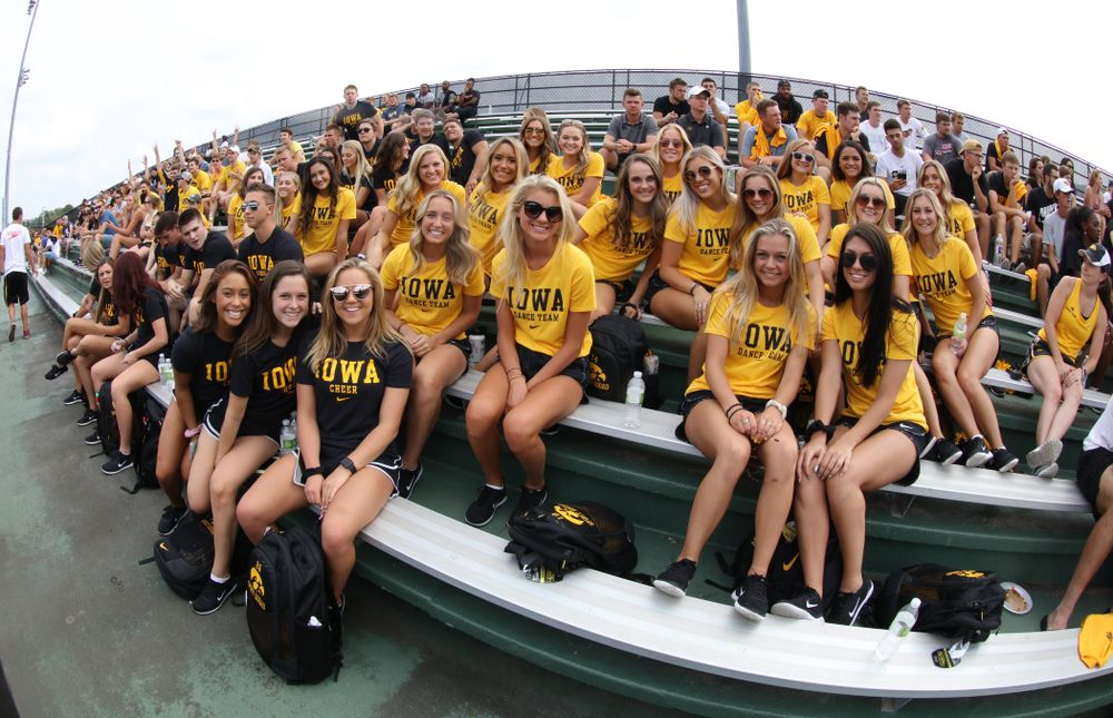 The Iowa Spirit Squad during the Iowa Student Athlete Kickoff Kickball game  Sunday, August 19, 2018 at Duane Banks Field. (Brian Ray/hawkeyesports.com)