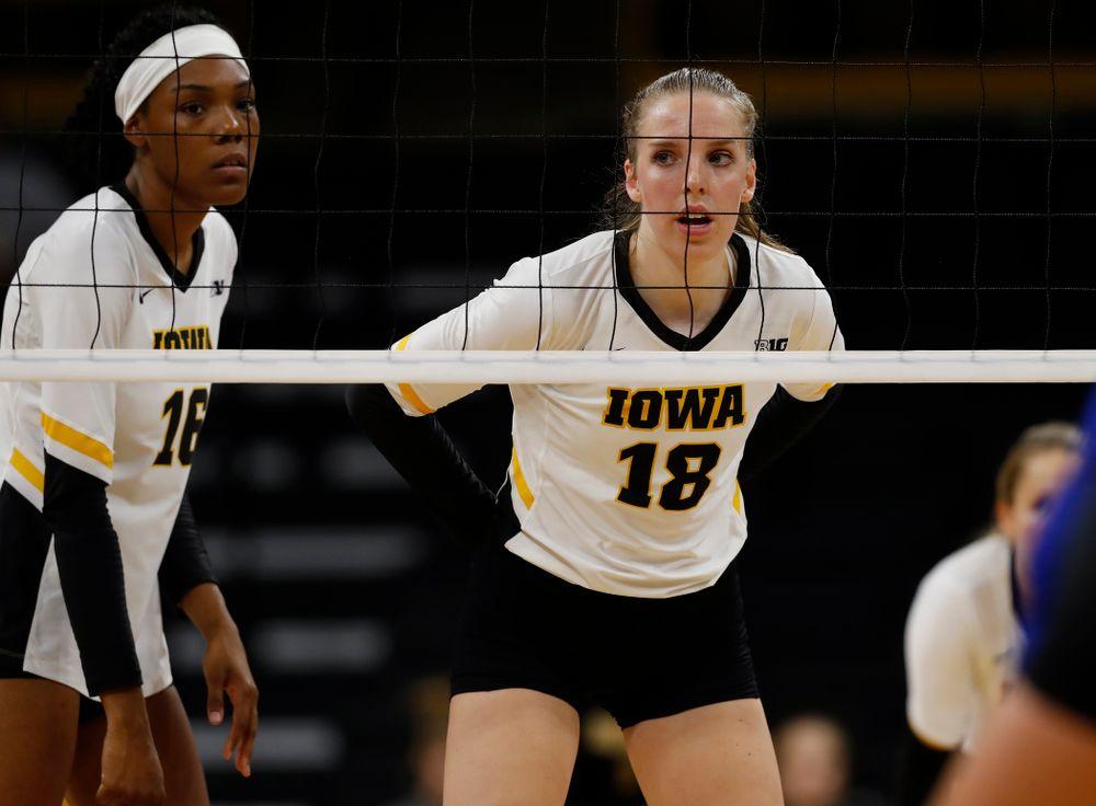 Iowa Hawkeyes middle blocker Hannah Clayton (18) against Eastern Illinois Sunday, September 9, 2018 at Carver-Hawkeye Arena. (Brian Ray/hawkeyesports.com)