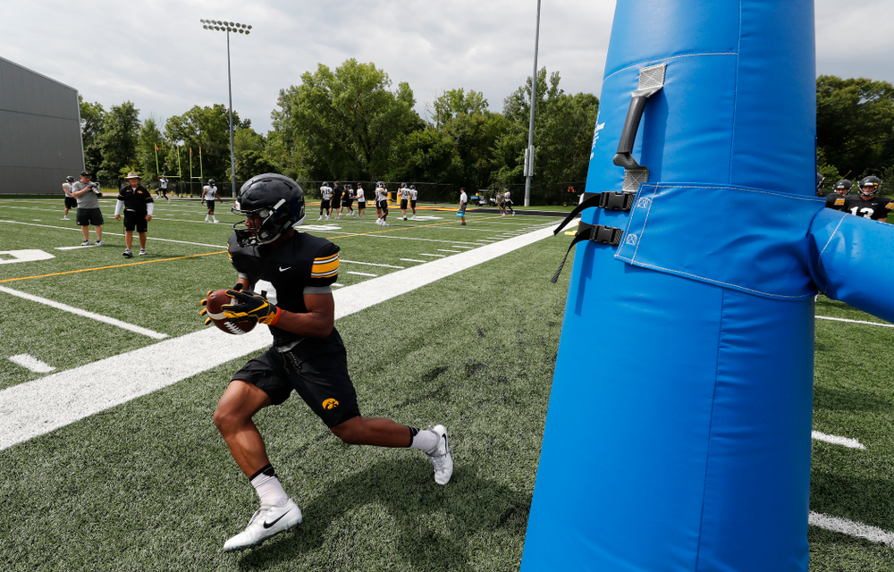 Iowa Hawkeyes wide receiver Tyrone Tracy Jr. (3) during practice No. 4 of Fall Camp Monday, August 6, 2018 at the Hansen Football Performance Center. (Brian Ray/hawkeyesports.com)