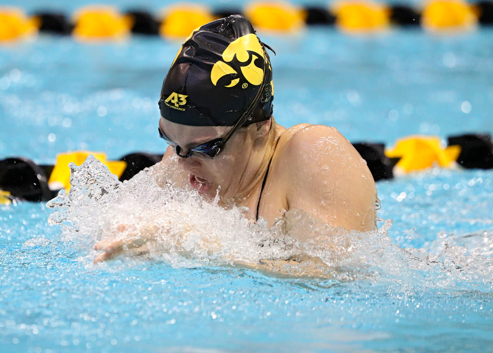 Iowa's Lexi Horner swims the women's 100-yard breaststroke event during their meet against Michigan State and Northern Iowa at the Campus Recreation and Wellness Center in Iowa City on Friday, Oct 4, 2019. (Stephen Mally/hawkeyesports.com)