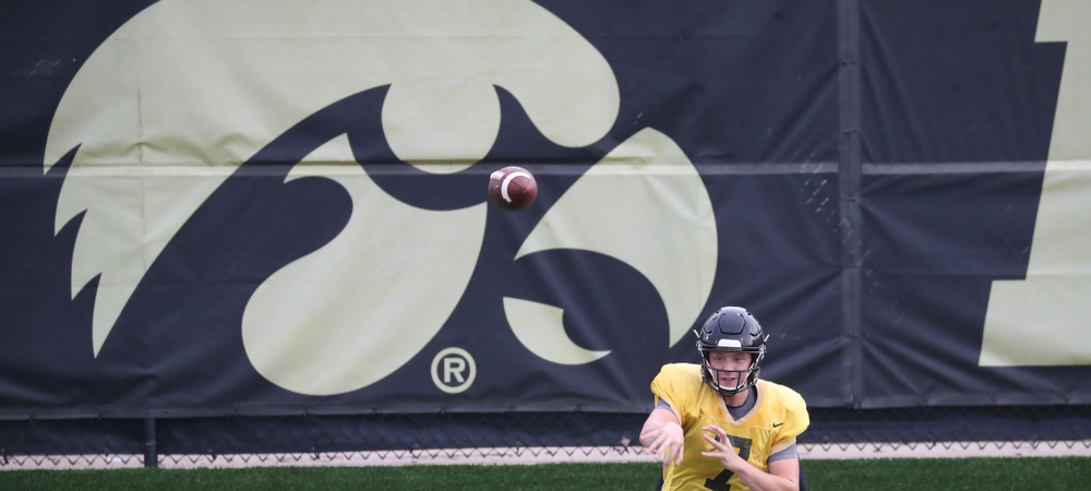 Iowa Hawkeyes quarterback Spencer Petras (7)