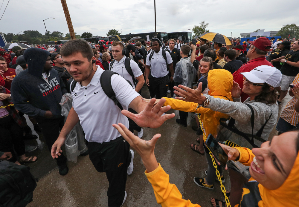 Iowa Hawkeyes offensive lineman Cole Banwart (61) arrives for their game against the Iowa State Cyclones Saturday, September 14, 2019 at Jack Trice Stadium in Ames, Iowa. (Brian Ray/hawkeyesports.com)
