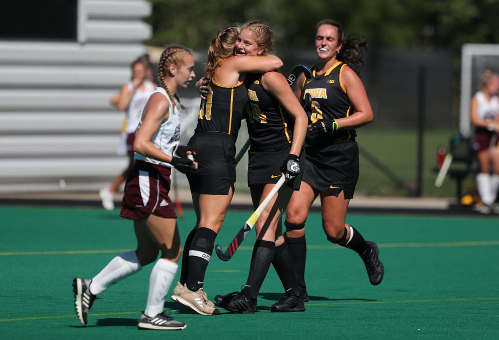 Iowa Hawkeyes Lokke Stribos (14) hugs Katie Birch (11) after scoring against Central Michigan Friday, September 6, 2019 at Grant Field. The Hawkeyes won the game 11-0. (Brian Ray/hawkeyesports.com)